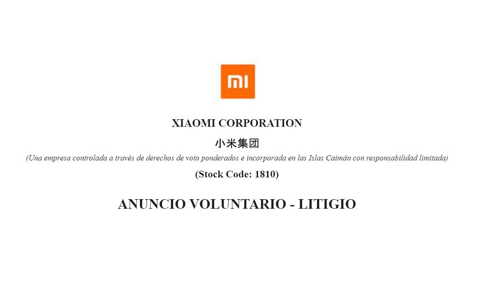 Xiaomi: Anuncio Voluntario – Litigio