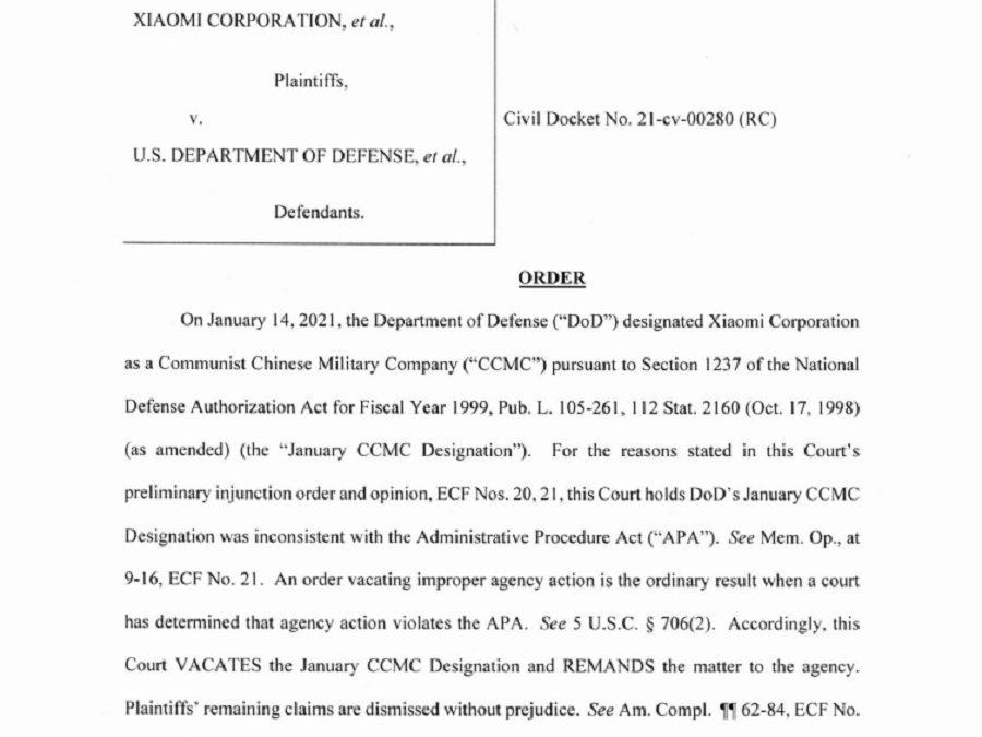 Tribunal Estadounidense emite orden definitiva en favor de Xiaomi